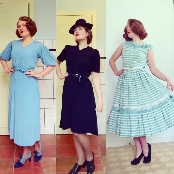 Blog Modemuze door Birthe Weijkamp. Vintage Hoe herken je kleren uit de jaren 20-60. Afb. 2 Typische jurken uit de jaren 1930, 1940 en 1950