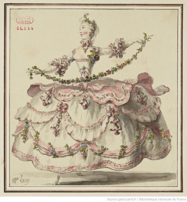 Blog Modemuze Fleur Dingen. Afb. 2. Louis-René Boquet, kostuumtekening voor ongeïdentificeerd ballet, 1717-1814, tekening, 183 x 175 mm, Bibliothèque nationale de France, Parijs. © BNF.