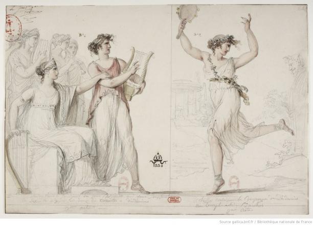 Blog Modemuze Fleur Dingen. Afb. 7. Jean-Simon Berthélémy, Kostuums voor ballet Achille à Scyros, aquarel, 280 x 400 mm, Bibliothèque nationale de France, Parijs. © BNF.