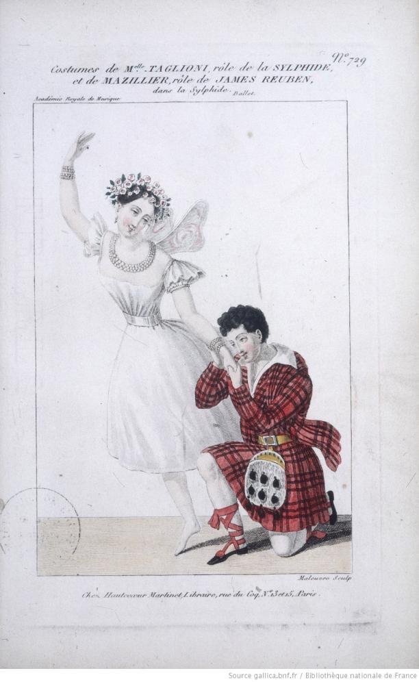 Blog Modemuze Fleur Dingen. Afb. 8. Eugène Lami, kostuums voor twee hoofdrollen La Sylphide door Maria Taglioni respectievelijk James Reuben, 1832, gravure, 28,5 x 18,5 cm, Bibliothèque nationale de France, Parijs. © BNF.