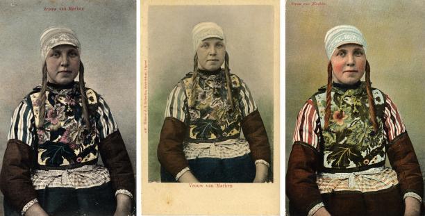 Blog Modemuze Jacco Hooikammer Ansichtkaarten Nederlandse streekdrachten visuele bron. Collectie Openluchtmuseum nr. AA 200009