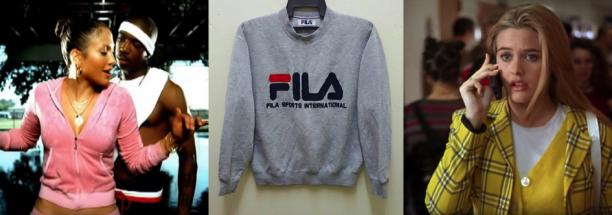 Afb. 4 Van links naar rechts: J Lo in Juicy Couture (still uit 'I'm Real', 2001); Vintage Fila-trui, aangeboden op Etsy; still uit de film Clueless met Alicia Silverstone in tartanruitjes (1995).