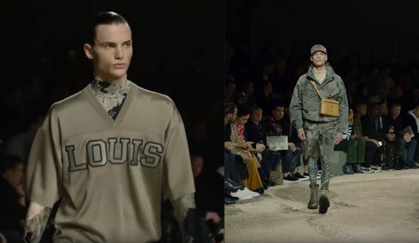Afb. 2 Het American Football-shirt, Lycra coltruitje of een glimmende sportbroek zoals in deze Louis Vuitton-looks zijn allemaal te koop in een vintagewinkel. De legerbomber is ook een 'klassieker'. Deze sportlook is vanaf de jaren 90 een trend geworden.