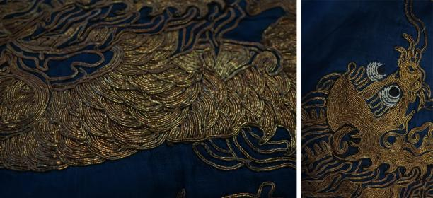 Blog Modemuze Sjoukje Telleman restauratie Chinese kimono met gouddraden schubben in relief