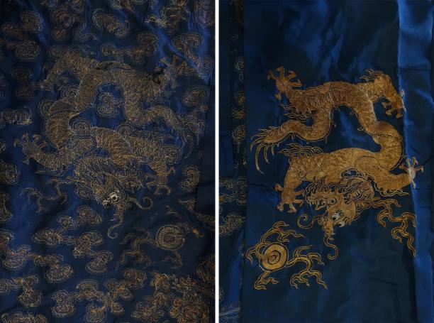 Blog Modemuze Sjoukje Telleman restauratie Chinese drakenmantel met gouddraden binnenkant buitenkant borduurwerk