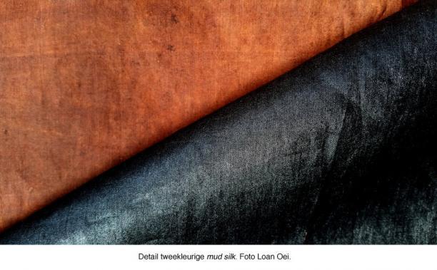 Blog Modemuze Sjoukje Telleman Symposium Zijde Textielcommissie. Detail tweekleurige mud silk. Foto Loan Oei