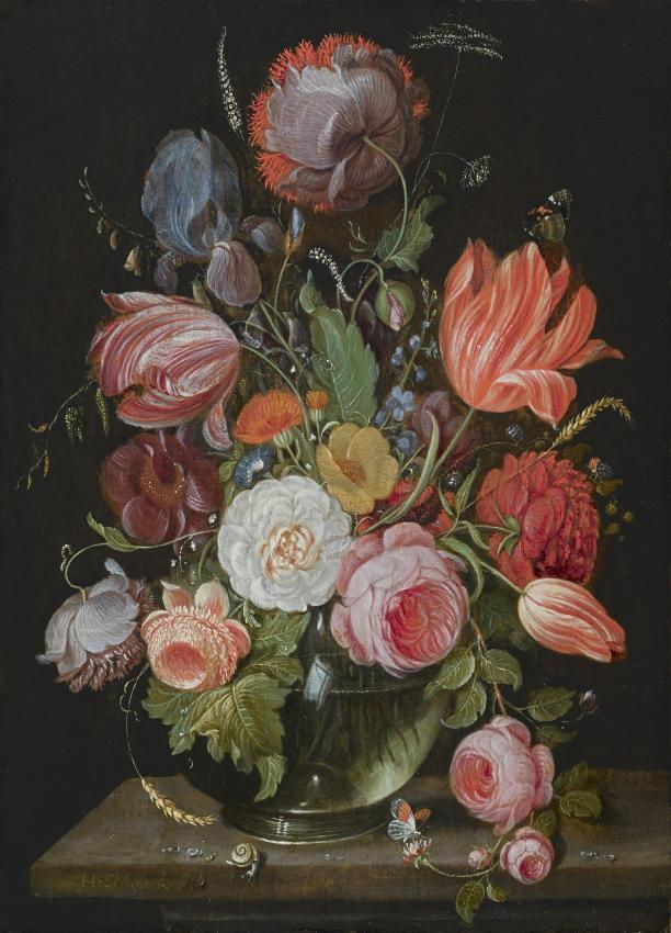 Blog Modemuze Sterre Snijders Masterly. Bloemen in een vaas, paneel, 21,5 x 15,5 cm, gesigneerd, H. Schoock. Fe, ca. 1660-70, particuliere collectie, via Hoogsteder Museum Stichting