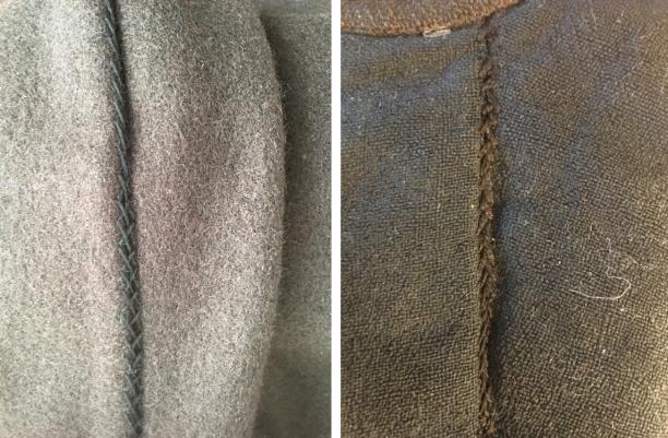 Links: vlechtsteek in zijnaad broek Meesterproef. Rechts: vlechtsteek in zijnaad broek Marker museum foto's: Paulette Hoppenbrouwers