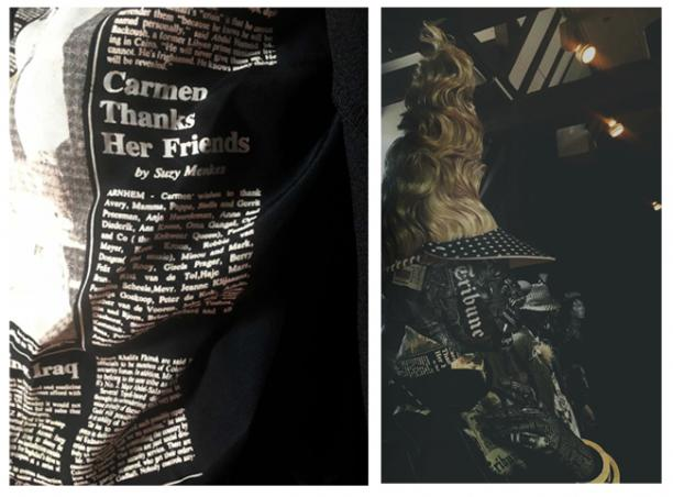 Een 'Herald Tribune'-kledingstuk van Carmen. Foto: Yoma Schertz.