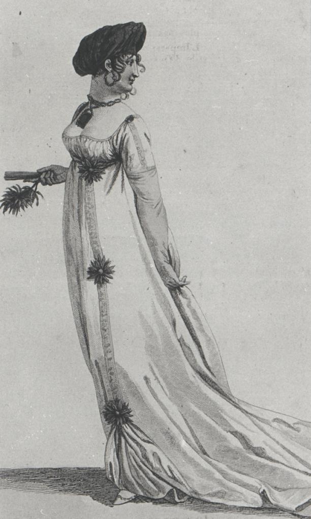 Modeprent met turban dragende dame, 1802, collectie Centraal Museum, aankoop 1983, objectnr.: 24348