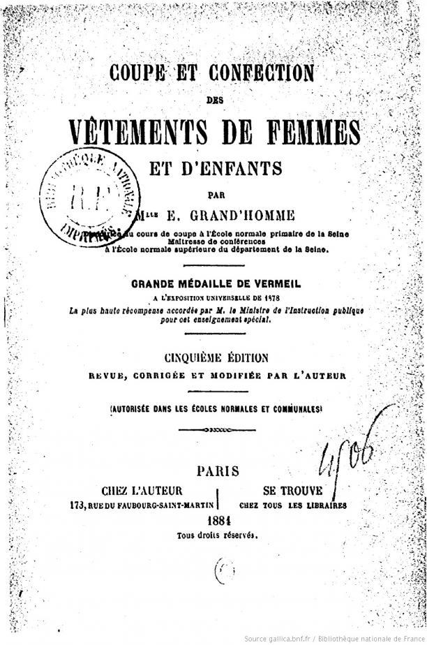 Coupe et confection des Vêtements de Femmes et d'Enfants…, 1884