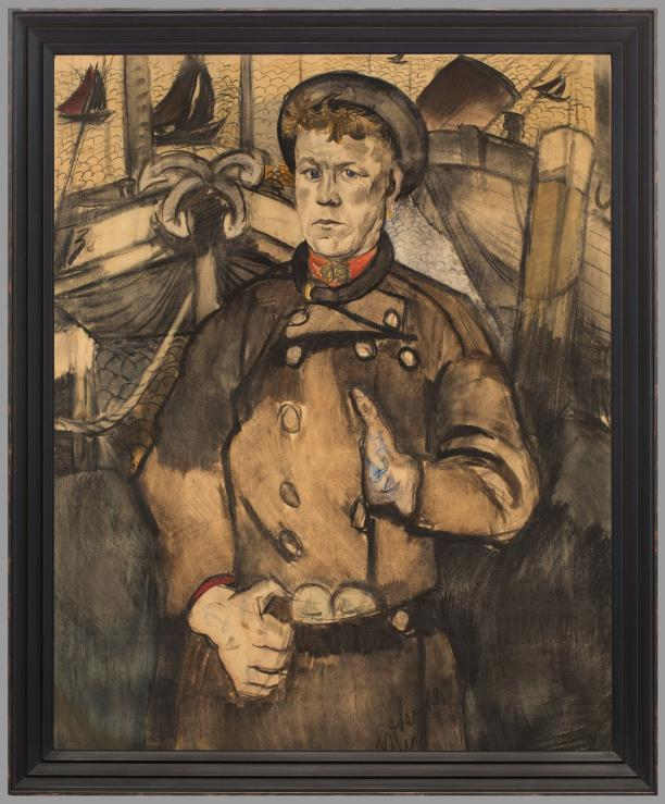 Ernst Leyden, Urker visser in de haven, aquarel, 1920, collectie Zuiderzeemuseum.
