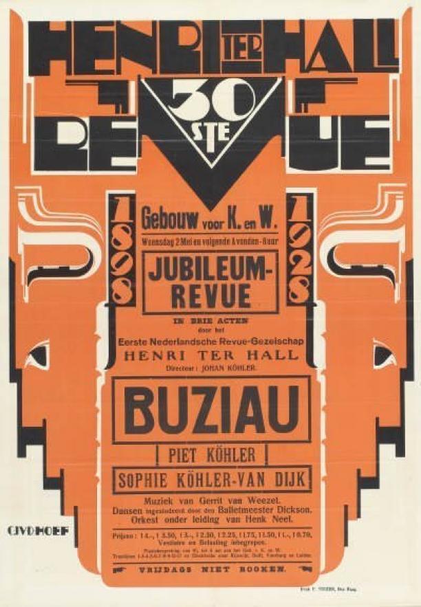 Affiche Henri ter Hall 30ste revue, 1928