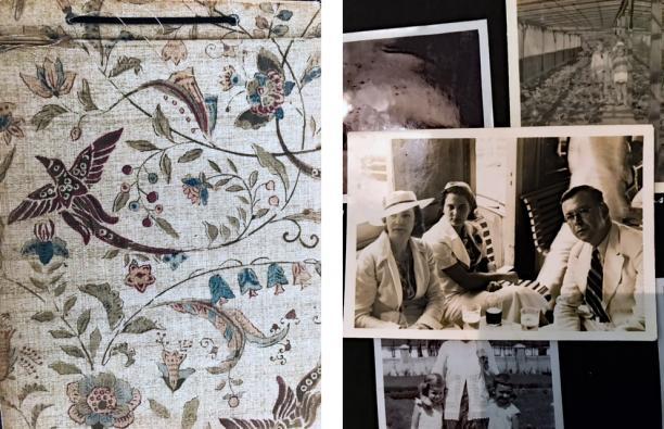 Afb 1 en 2 Voorkant fotoboek en Elizabeth Leopoldine Constance Pool en Dhr. Pool (dame naast Elizabeth onbekend). Bron: persoonlijk archief.