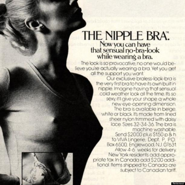 'The Nipple Bra' advertentie, ca. 1970.