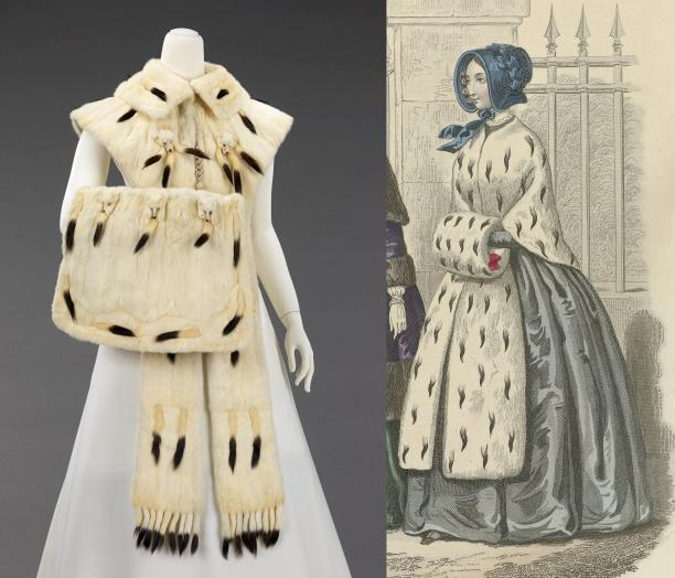 Links: Accessoire set, C. G. Gunther's Sons, 1890–99, collectie: The Metropolitan Museum of Art. Rechts: Detail van Gazette des Femmes et bibliothèque des dames, ca. 1843, 5e Annee, No. 7.