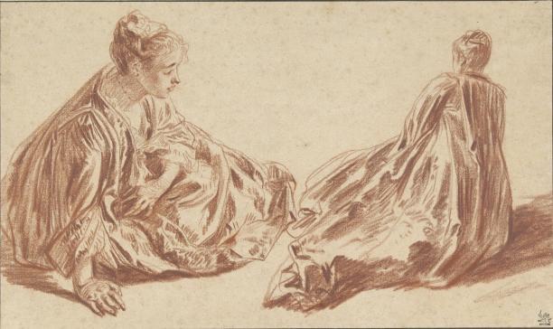 J.A. Watteau, Twee studies van een zittende vrouw, 1709 - 1721 (Collectie Rijksmuseum RP-T-1953-181)