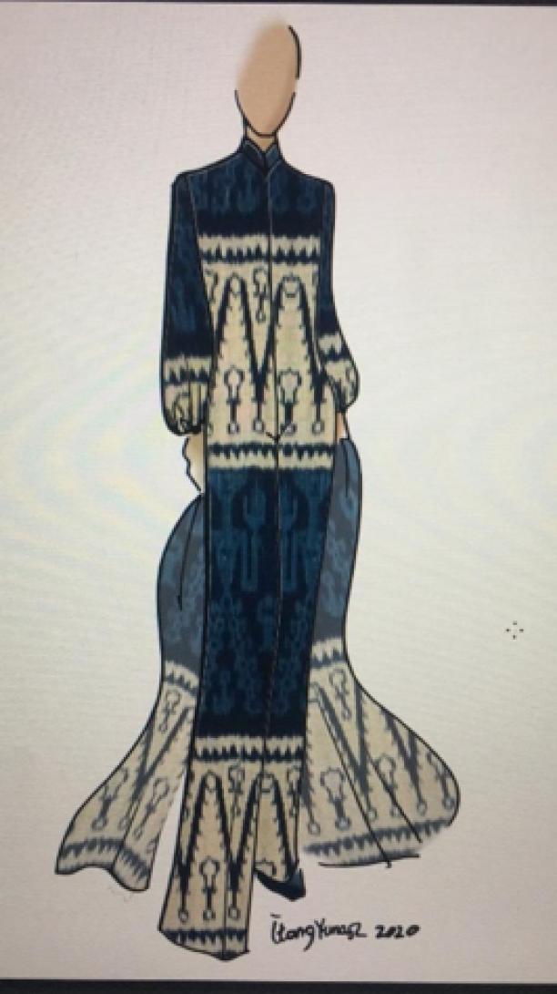 schets van een blauw-witte jumpsuit