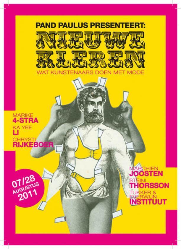 Flyer voor de tentoonstelling Nieuwe Kleren. Wat kunstenaars doen met mode. 7-28 augustus 2011.