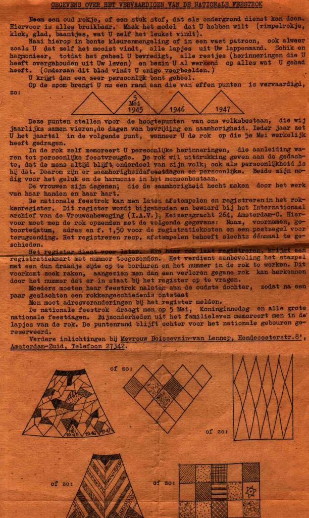 Instructies voor het maken van een Nationale Feestrok, collectie: NIOD.