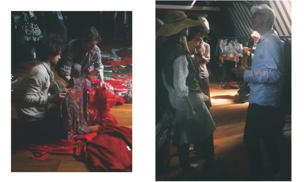 Links: Maarten Spruyt en Pieter Eliëns selecteren en combineren verschillende outfits. Rechts: Hans Kemmink in de filmzolder van het Amsterdam Museum. Foto's: Yoma Schertz.