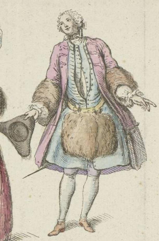 Detail van Mercure de France (serietitel), Modes de février-mars, 1729, collectie Rijksmuseum.