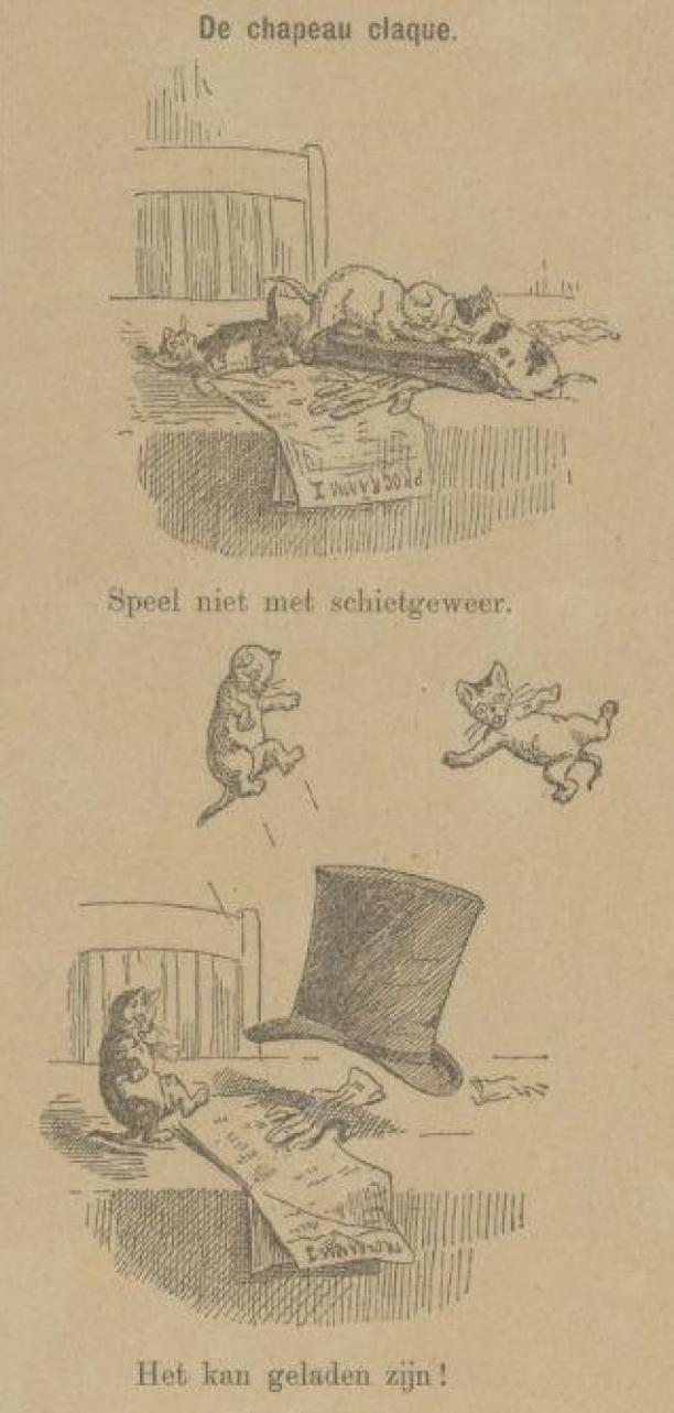 Detail uit de Haagsche Courant waarbij de Chapeau Claque kittens doet vliegen, 2 december 1889. Bron: Delpher.