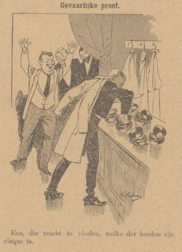 Detail uit de Haagsche Courant over de 'gevaren' van de Chapeau Claque, 6 juni 1898. Bron: Delpher.