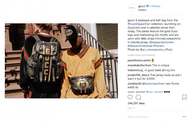 Op Instagram is alles van Gucci populair. Het merk is dan ook niet bang om zijn naam groot en breed in elke foto naar voren te laten komen.