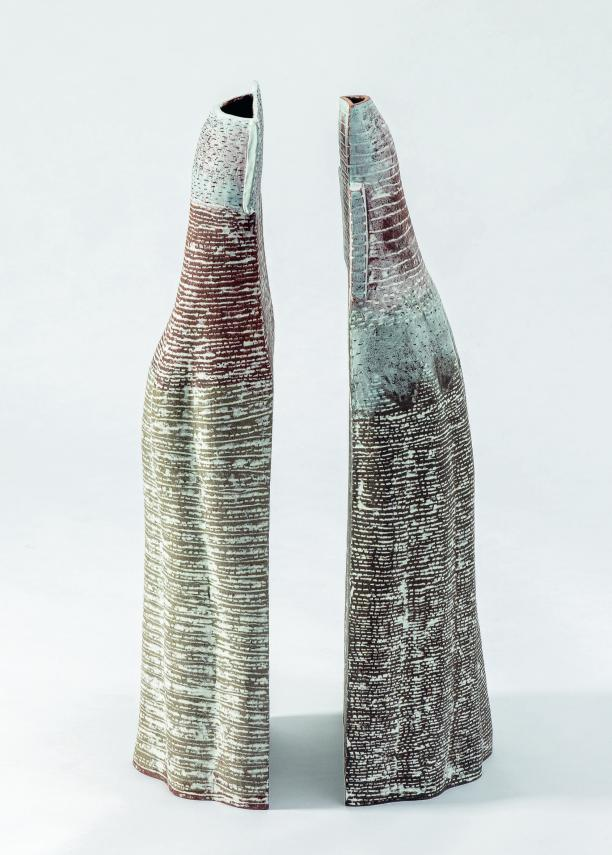 Ceramic, stoneware clay, porcelain Built, turned, deformed, salt glaze L 23 cm, W 13 cm, H 62 cm