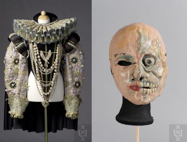Kostuum en masker gedragen door Annet Andriessen als Elizabeth I in Der fliegende Holländer, 1979, ontwerp: Lioba Winterhalder, Theatercollectie Bijzondere Collecties UvA (TiN).