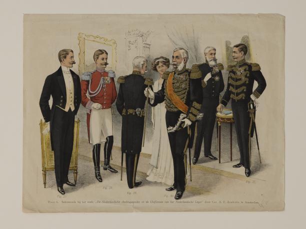 Plaat 4 van Chr. A. F. Angröchte, De Nederlandse Ambtsgewaden en Uniformen van het Nederlandse Leger.