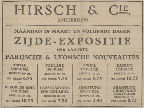 Radiumzijde bij Hirsch & Cie, Algemeen Handelsblad 27-03-1920, radioactieve mode uit het museum, Amsterdam Museum geschreven door Marit Eisses voor Modemuze. Marie Curie, radium, 20e eeuw,  reclamemateriaal voor radioactieve producten, mode, radioactive