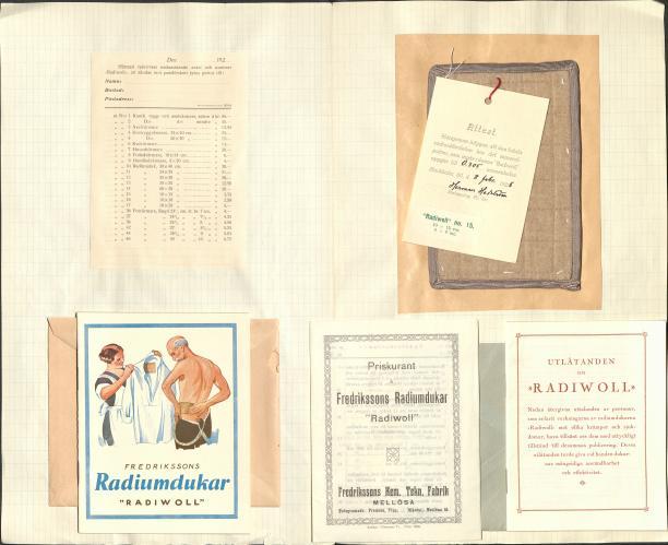 Radiwoll, stofstaal en prijscourant, 1926, radioactieve mode uit het museum, Amsterdam Museum geschreven door Marit Eisses voor Modemuze. Marie Curie, radium, 20e eeuw,  reclamemateriaal voor radioactieve producten, mode, radioactieve mode