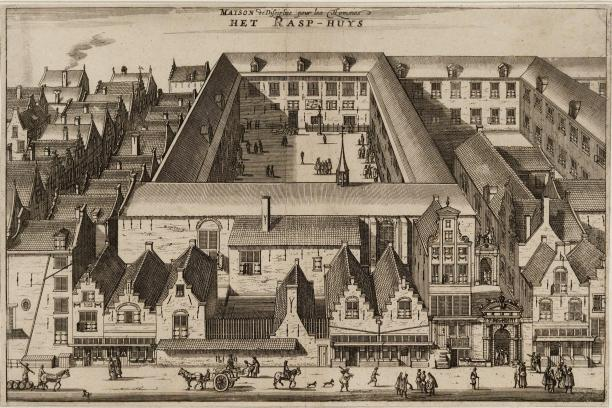 Anoniem. Het Rasphuis. 17e eeuw. Ets. Amsterdam, Stadsarchief Amsterdam.