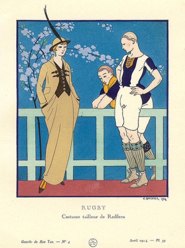Kleding voor rugby door maison Redfern, illustratie door George Barbier in de Gazette du Bon Ton, april 1914.