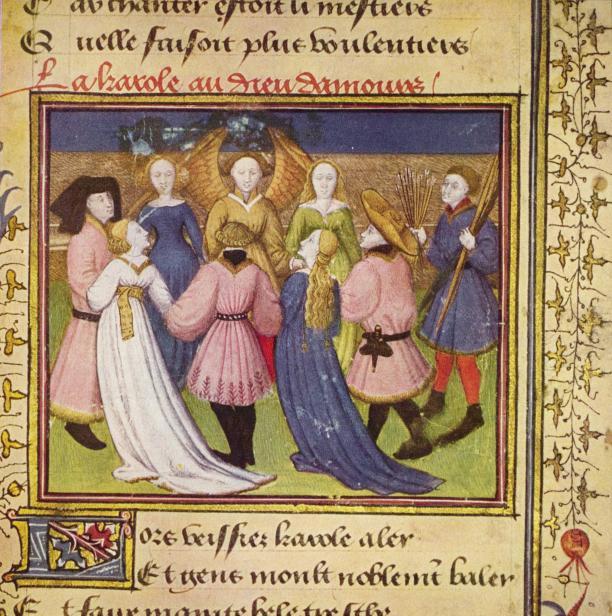 Reidans met Amor, Roman de la Rose in de Österreichische Nationalbibliothek, Wenen. Bron: Wikipedia.
