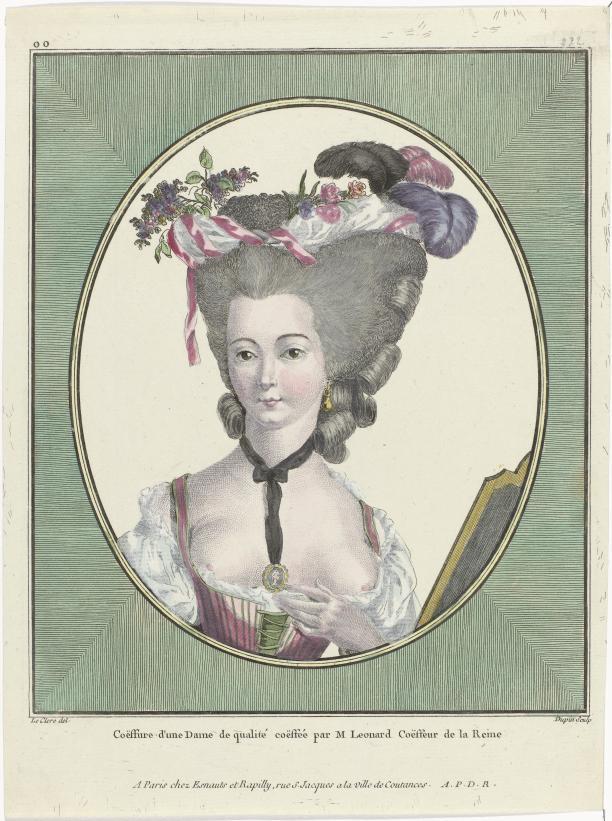 Gallerie des Modes et Costumes Français, 1781, oo 222 : Coëffure d'une Dame de qualité coëffée par M Leonard Coëffeur de la Reine. (Rijksmuseum, RP-P-2009-1189)
