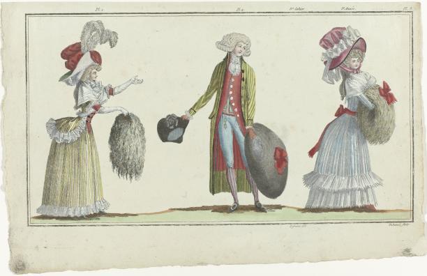 Magasin des Modes Nouvelles Françaises et Anglaises, 10 décembre 1787, 3e cahier, 3e année, Pl. 1,2 et 3, collectie Rijksmuseum.