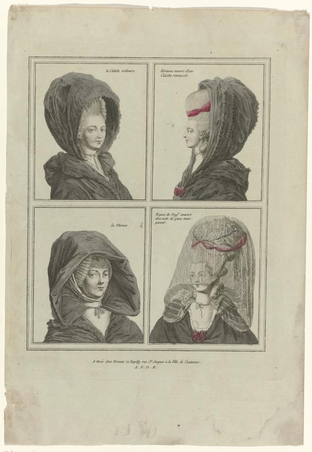 Gravure, Coiffures, poufs, hoeden en mutsen: Elf coiffures en hoofddeksels, Gallerie des Modes et Costumes Français 1778, C 17: La Calèche ordinair, Rijksmuseum.
