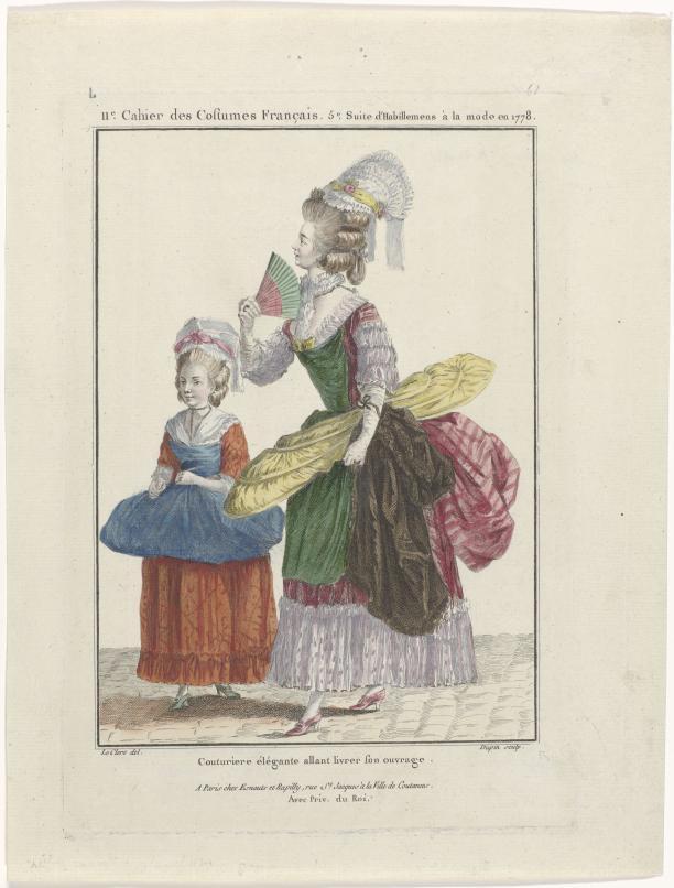 Modeprent RP-P-2009-2102 uit de collectie van het Rijksmuseum: Gallerie des Modes et Costumes Français, 1778, L 61 : Couturiere élégante allant livrer son ouvrage. De naaister draagt onder haar arm naaiwerk om af te leveren, waaronder een panier.