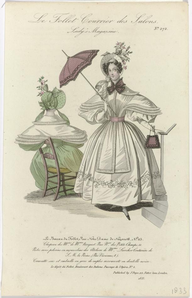 Gravure, Le Follet Courrier des Salons, Lady's Magazine, 1833, No. 272: Robe avec pelerine, Rijksmuseum.