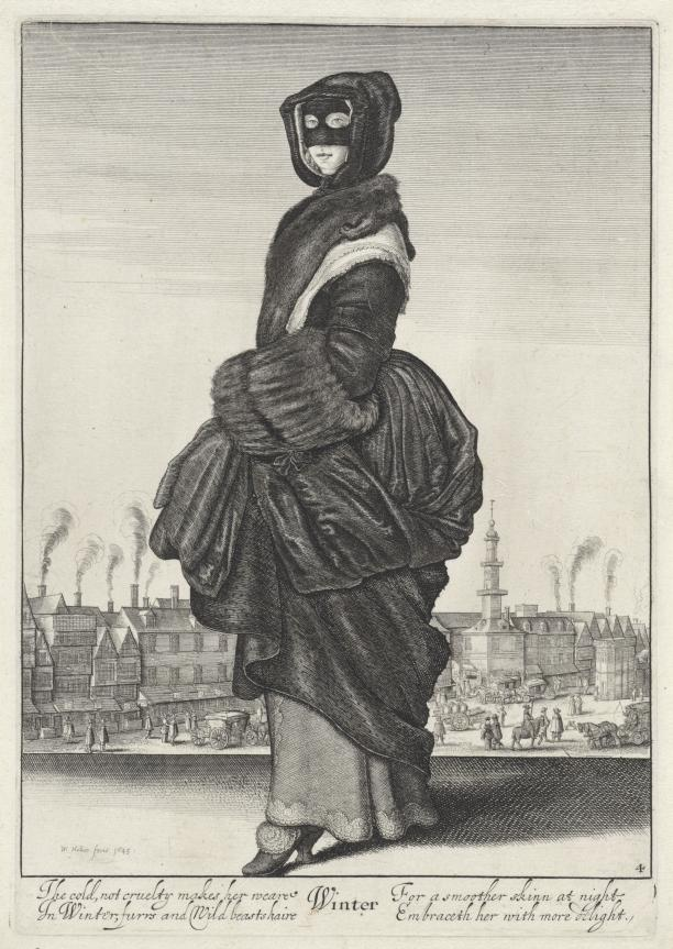 Winter, De vier seizoenen (serietitel), Wenceslaus Hollar, 1643, collectie Rijksmuseum.
