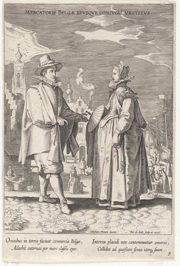 Variarum Gentium Ornatus (Kostuums uit verschillende landen), Pieter de Jode (I), naar Sebastiaan Vrancx, 1605 – 1610.; Beleef Het Verleden, Verborgen Dracht in de Schijnwerpers, Archeologie, textiele archeologie, 17de eeuw, replica, reenactment