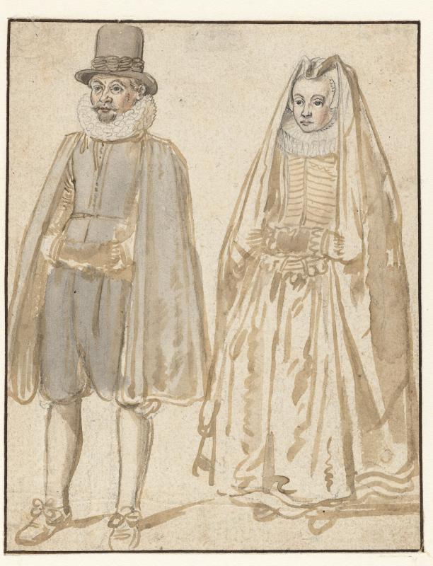 Hendrick Avercamp, 1595 – 1634 Staande man en vrouw, van voren, gekleed volgens de burgerlijke mode van ca. 1615; beiden hebben de handen in een mof, collectie Rijksmuseum.