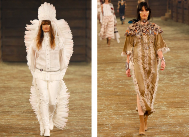 Cultural appropriation: Native American geïnspireerde mode op de catwalk voor Chanel Dallas Metiers d'Art show 2013/2014 (foto:Vogue.com, fotograaf: Evans Caglage / Firstview.com)