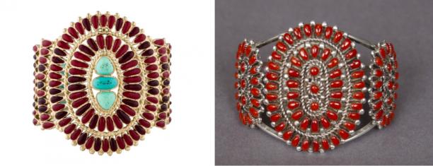 Armband Chanel, 2013, verguld metaal, glas, kunsthars, email (foto: the realreal.com) M.D Besselente, armband, 2006, zilver, bloedkoraal, cluster work techniek, collectie en foto: Nationaal Museum van Wereldculturen)