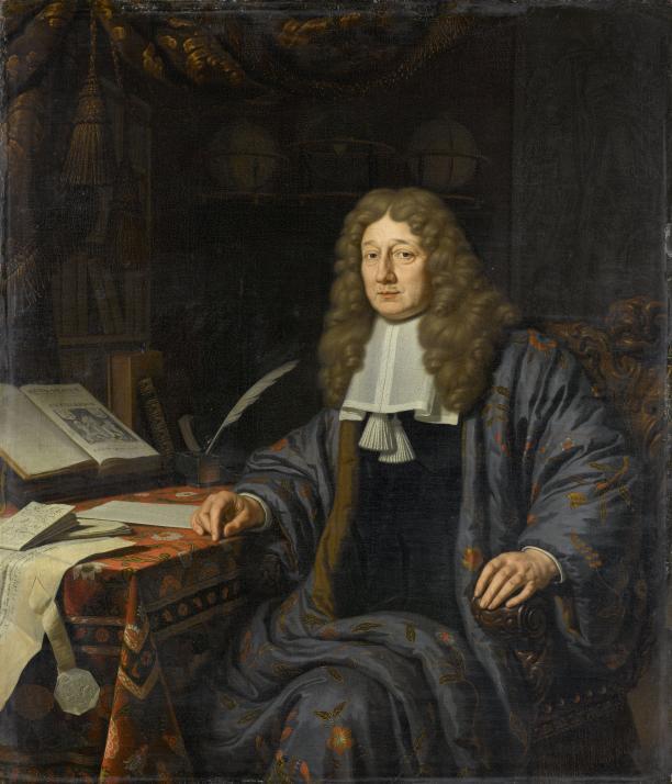 Michel van Musscher, Portret van Johannes Hudde in een japonse rok van beschilderde zijde, 1686, collectie Rijksmuseum Amsterdam SK-C-528