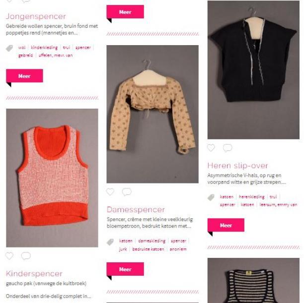 Een zoekopdracht naar spencers leidt tot twee verschillende soorten kledingstukken: 19e-eeuwse jasjes en mouwloze truien.