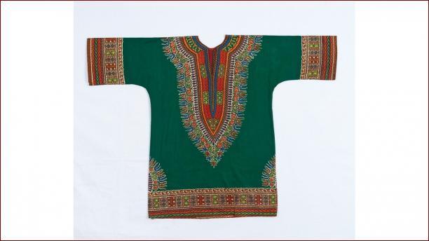 Maria Adrina (Rita) Bolland – Vlisco, tuniek van Vlisco-textiel, 1971, stichting Nationaal Museum van Wereldculturen